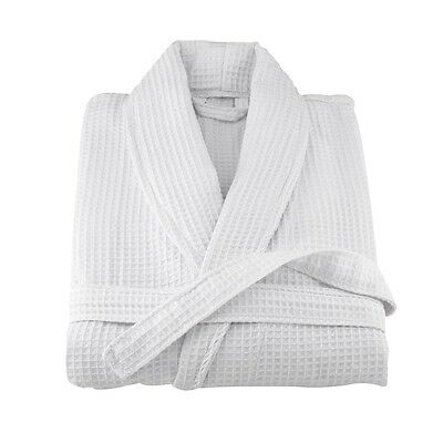 """WAFFLE WHITE HOTEL SHAWL COLLAR ROBE DRESSING GOWN SHORT LENGTH 39"""" SMALL OR XL"""