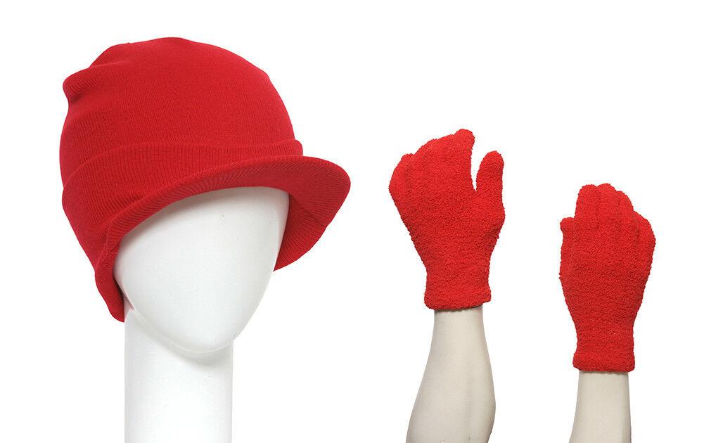 Red Cuffed Beanie Visor + Fuzzy Winter Gloves