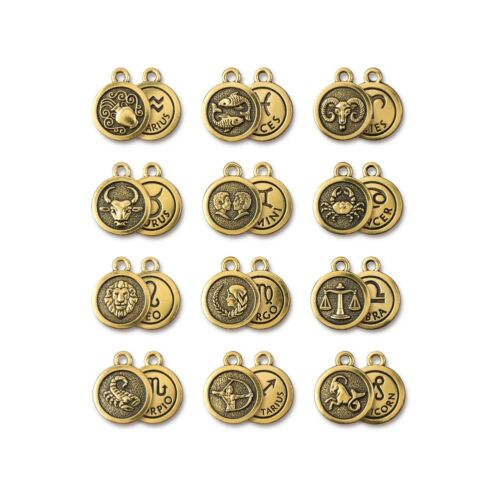 T911 Antiqued Gold Plated Lead Free Pewter TierraCast Zodiac Charm