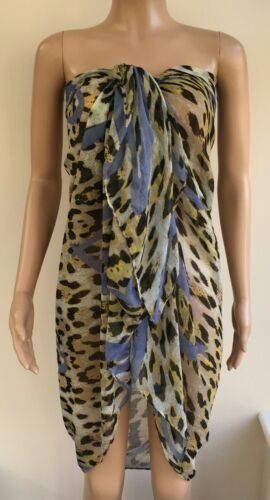 Animal Print Multi Way Sarong Scarf Beach Cover Up Pink or Blue Heart  #D2