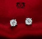 ❄❄ Boucles d'oreilles puces Diamants naturel véritable Or blanc 18K 750 BO 0.60
