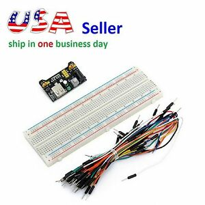 MB102 Power Supply Module 3.3V 5V+Breadboard Board 830 Point+65PCS Jumper cable
