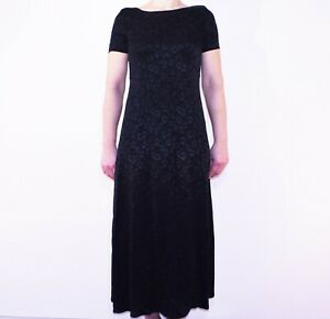 Vintage-Laura-Ashley-Black-Jacquard-Midi-Dress-Long-Summer-Size-12-US-8-X
