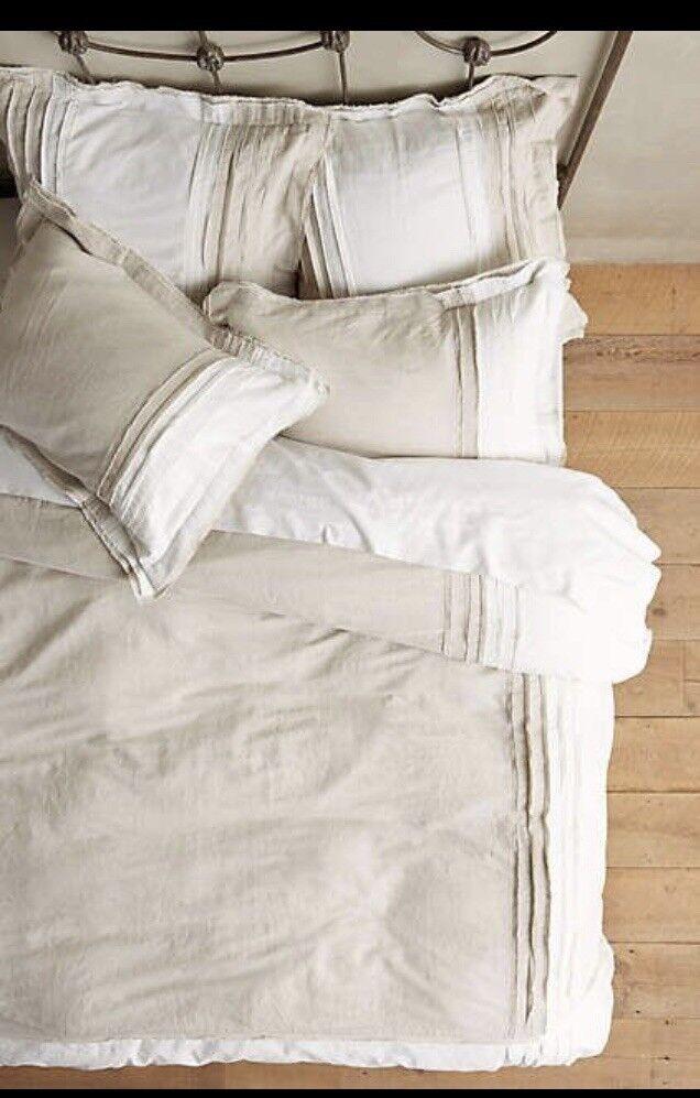 Anthropologie Daloni Queen Duvet Set Pleated Linen Cotton Blend NEW