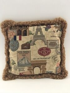 """Borgata Tapestry Throw Pillow With Fringe Paris Landmarks Double Sided 16""""x16"""""""