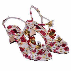 DOLCE-amp-GABBANA-Crystal-Strap-Sandals-Heels-Pumps-Daisy-Poppy-White-Red-07429