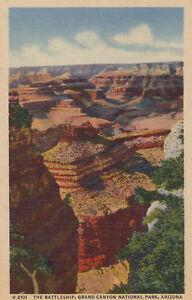 Postcard-Fred-Harvey-A590-The-Battleship-Grand-Canyon-National-Park-Arizona-1953