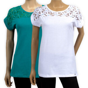 Womens Ladies Cotton Embroidered Top White Teal Casual Party Lace Yoke T-Shirt