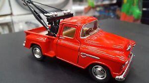1955-Chevy-Stepside-Pick-Up-Rojo-Kinsmart-Modelo-Juguete-1-32-Escala