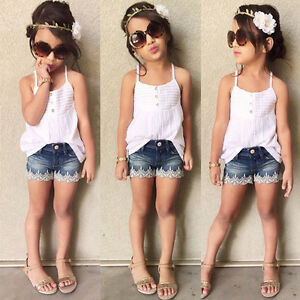 Summer Baby Girls Clothing Vest Top +Lace Denim Shorts Set ...