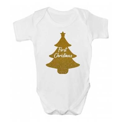Ultima Raccolta Di Primo Albero Di Natale Baby Grow/body-bambini Carino Albero Di Natale Abbigliamento-mostra Il Titolo Originale