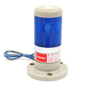 Alarm Warning Lamp Continuous Light Industrial LED Signal Tower Blue 110V
