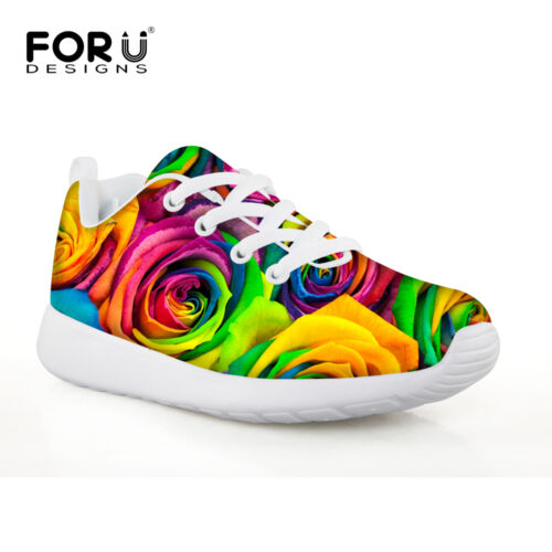 Child Sports Shoes Colorful Rose Printing Girl Casual Shoes Kids Fashion Sneaker