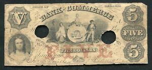 1856 $5 THE BANK OF COMMERCE SAVANNAH, GA OBSOLETE ...
