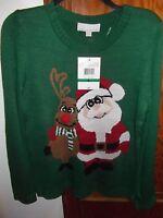 Carolyn Taylor - Sweater - Women - Green Santa - Size Large (ac-20-10x4)