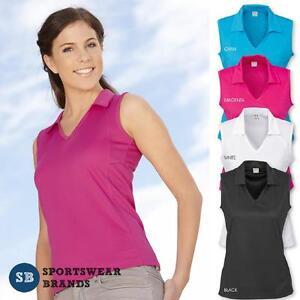Ladies-Sleeveless-Polo-Shirt-Top-Sports-Mesh-Size-8-10-12-14-16-18-20-Womens-New