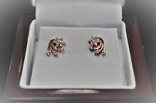 .20pt Diamond Flower Swirl Earrings 14kt Rose Gold