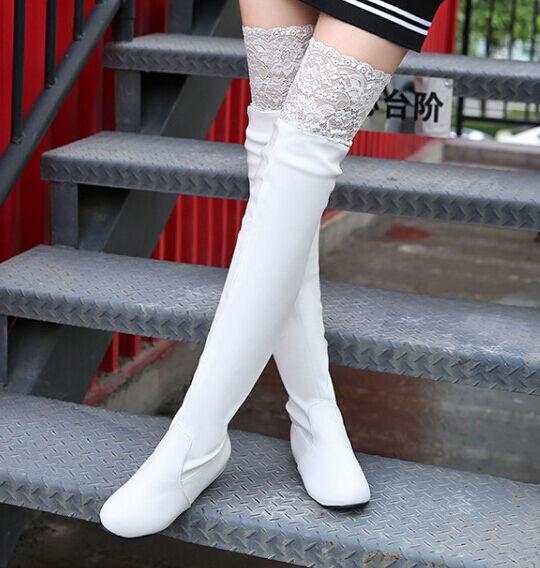 Stiefeletten stiefel schenkel frau absatz 5 cm elegant komfortabel weiß spitze