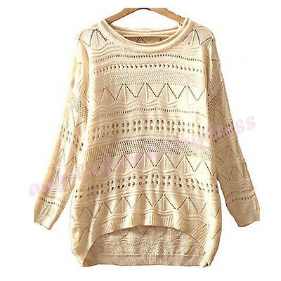 New Women Beige Round Neck Hollow Knitted Pullover Jumper Loose Sweater Knitwear