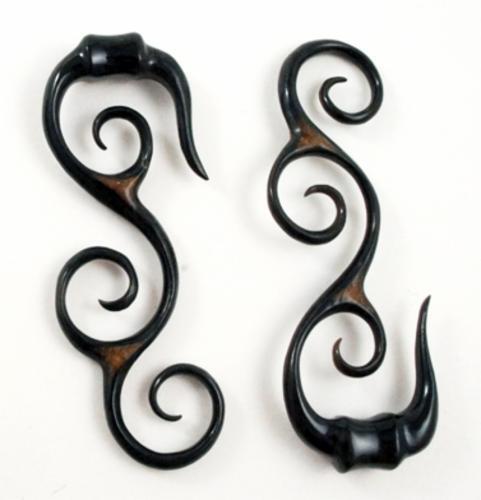 "Pair Handmade Carved Black Horn Tribal Spiral S Hanger Ear Gauge Plugs 8G-11//16/"""