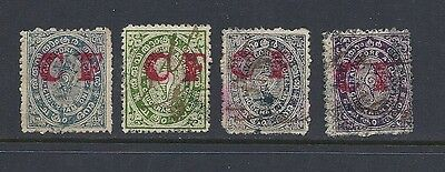 Other Asian Stamps India Travancore 4 Different With Red 'cf' Overprint F Used Great Varieties