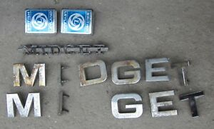MG Midget Chrome Badge Emblem Letters Trunk Script & British Leyland Motif Lot