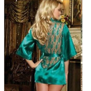 GREEN-SEXY-Lace-and-Satin-Style-Short-Kimono-M-UK-STOCK-BUY-NOW