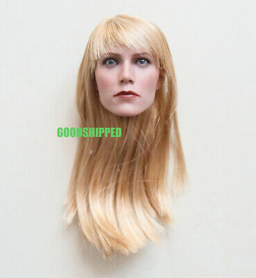 """Stock 1//6 Gwyneth Paltrow Pepper Potts Head Sculpt For 12/"""" Female Action Figure"""