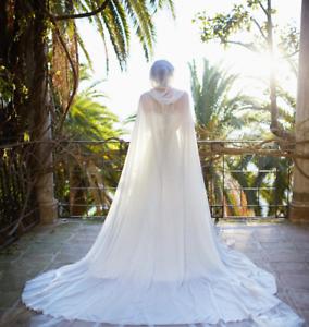 Chiffon-Long-Cape-Wedding-Wraps-Hooked-Jackets-White-Ivory-Bridal-Cloak-Custom