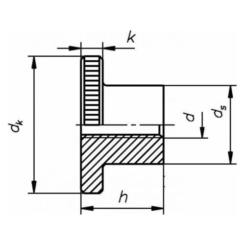 10x DIN 466 Rändelmuttern M 4 hohe Form 05 Au blank gedreht