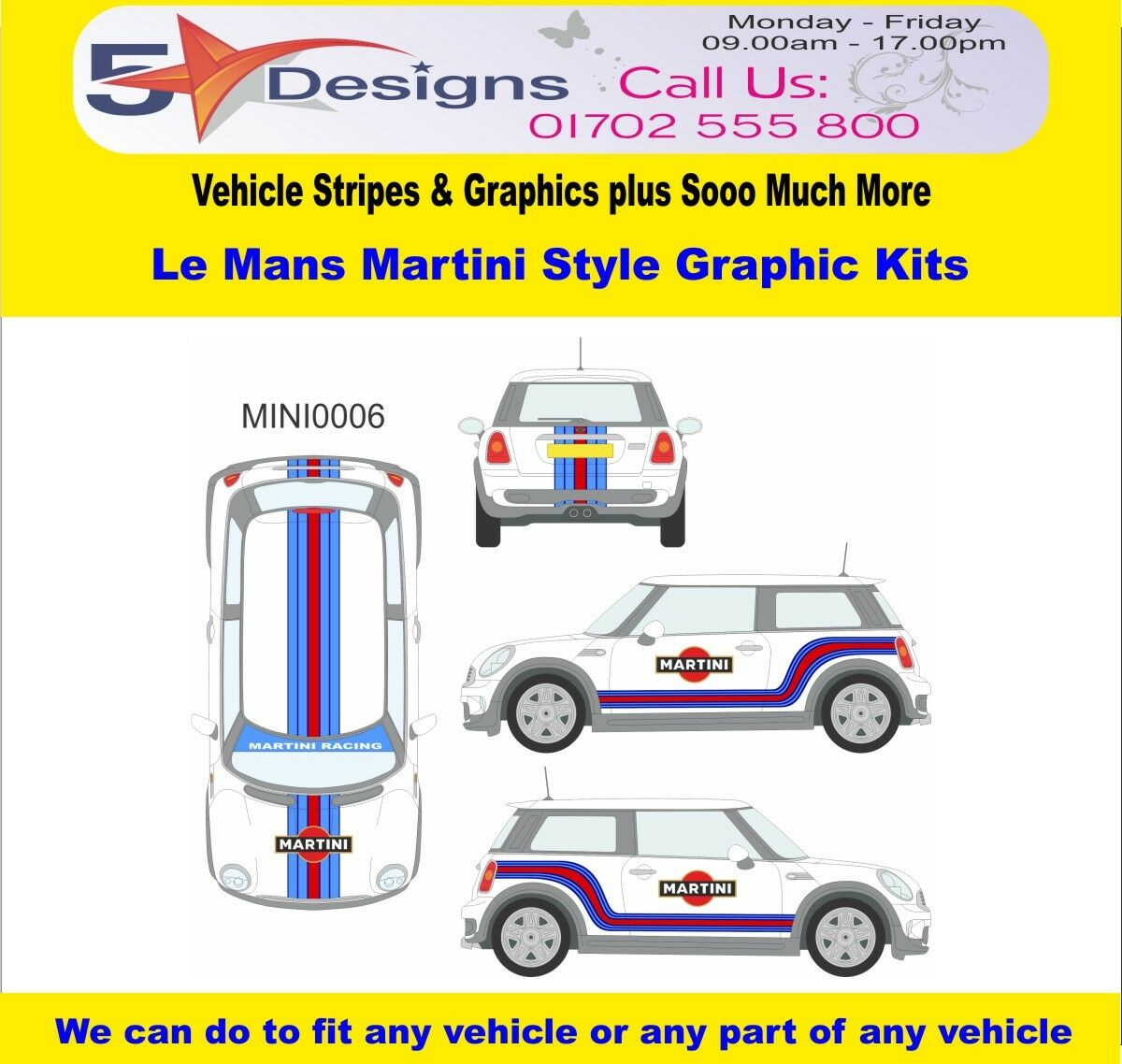 MINI Cooper S R56 2006-14 Le Mans Martini Race Rally Logo Graphics Kit 6