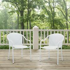 Crosley Palm Harbor Outdoor Wicker Stackable Chairs - Set of 2 White