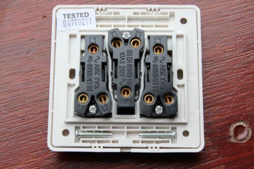 Crabtree Corinthian 5173 Wide Tall Rocker 10AX 3G 2W triple white plate switch