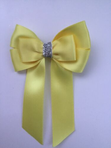 "Wedding Flower Girls School 3.5"" Girls Yellow Hair Bow Clip Long Tails Bow"