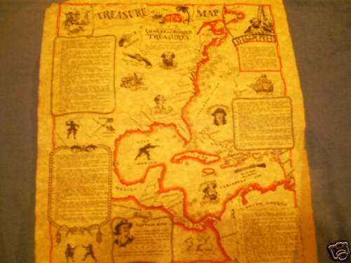 """Pirate treasure map of the Americas parchment paper14/"""" plus a pirate paper money"""