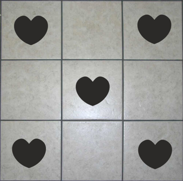 22 HEART Tile stickers - transfer decals - for bathroom, kitchen,  gift  [T6]