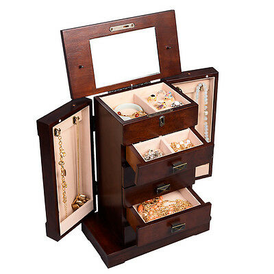 Armoire Jewelry Cabinet Box Storage Chest Stand Organizer Durable Wood New