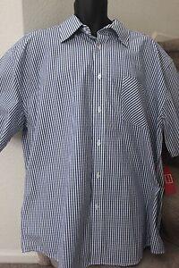 Tommy-Hilfiger-Denim-Mens-Stripe-Blue-Cotton-Button-Front-Shirt-Size-XL-XLarge