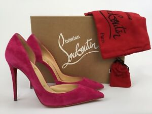 reputable site f396a 4be37 Details about Christian Louboutin IRIZA Half d'Orsay Pointy Toe Rosa Pink  Suede Pump 37.5