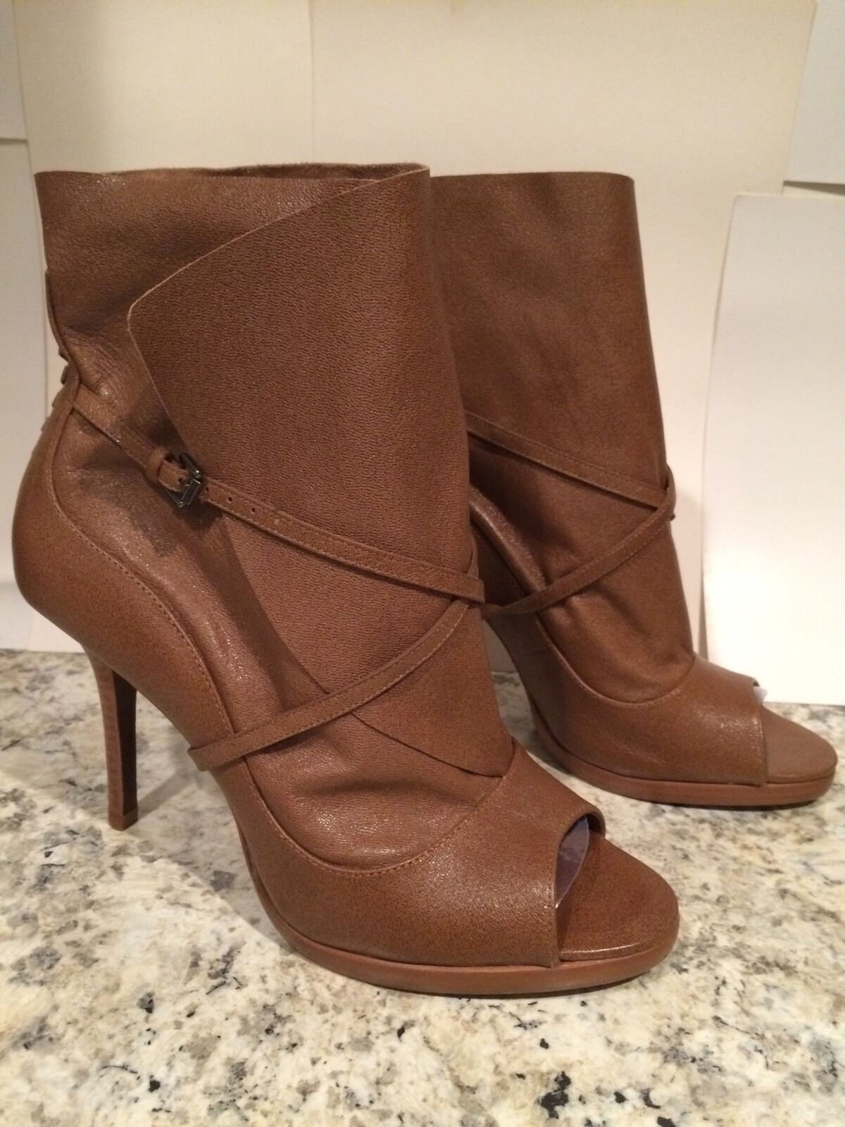 Max Azria Wrap Booties Soft Leather Open Toe Heel (BCBG) Brown 40 9.5 New Nice