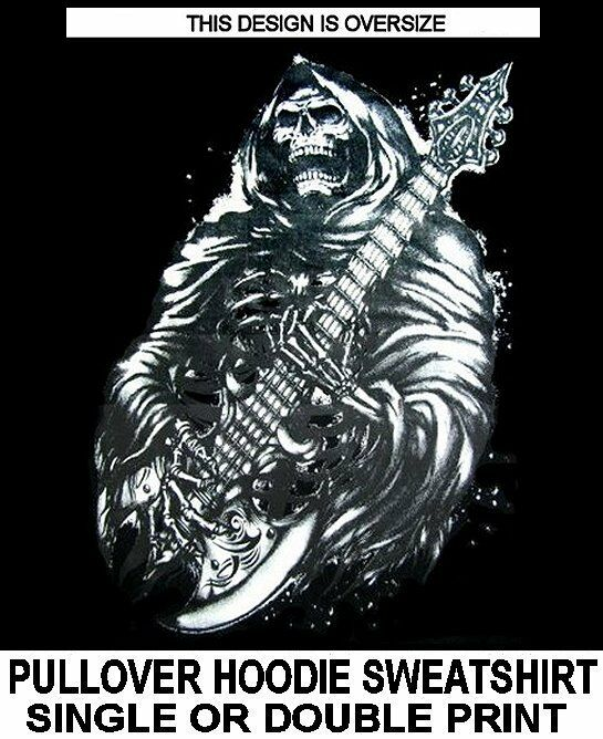 GRIM REAPER SKELETON PLAYING GUITAR AXE SKULL HERO SINGING HOODIE SWEATSHIRT 109