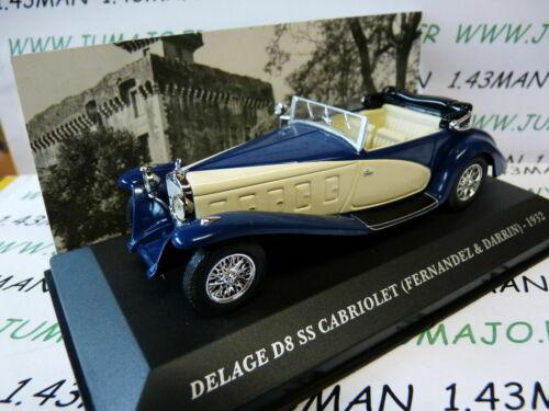 AUT7M 1//43 ixo altaya Cars Vintage Delage D8 Ss Cabriolet 1932