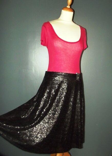 Atmosphere Jupe Skirt Glam Rock Multipampilles Wet T Uk 14 Ou 40