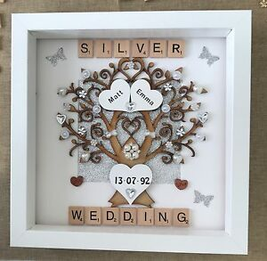 Image Is Loading Personalised Handmade Silver 25th Wedding Anniversary Tree Keepsake