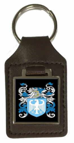 Christie Family Crest Surname Coat Of Arms Brown Leather Keyring Engraved