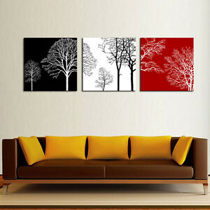 Details About Print Canvas Painting Black White And Red Tree Picture Abstract Wall Art Decor