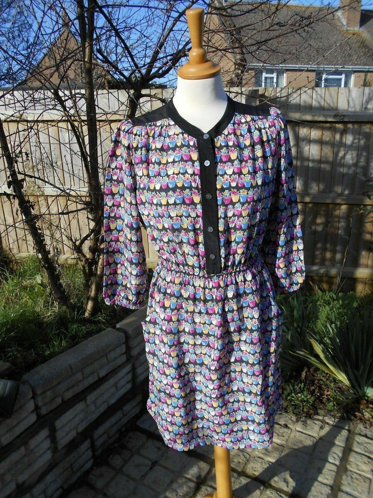 b459462634d9 Marilyn Moore London 100% SETA Vaso da fiori vestito vestito vestito molto  elegante Corse Taglia 8 nuovo senza etichetta 23b46e