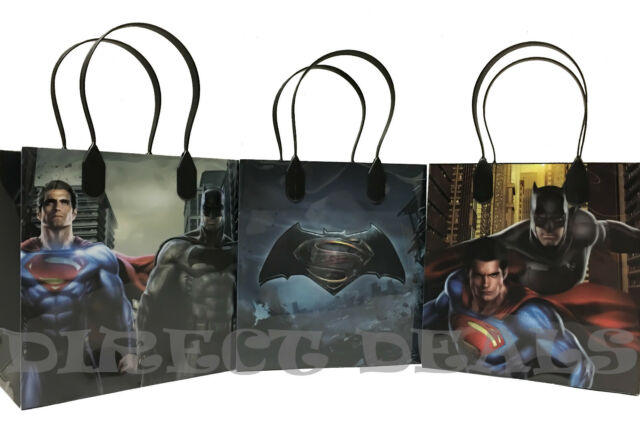 Superman Batman Party Favors Gift Bags 12 PCS Birthday Candy Treat Toy Bag NEW