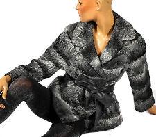 M cazadora iesa transversales a rayas gris ancha cola Persian Lamb fur Jacket