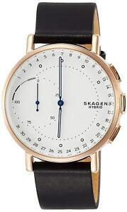 Skagen SKT1112 Men's Hybrid Smartwatch 42mm Rose-Tone Black Leather Watch 4053858906082